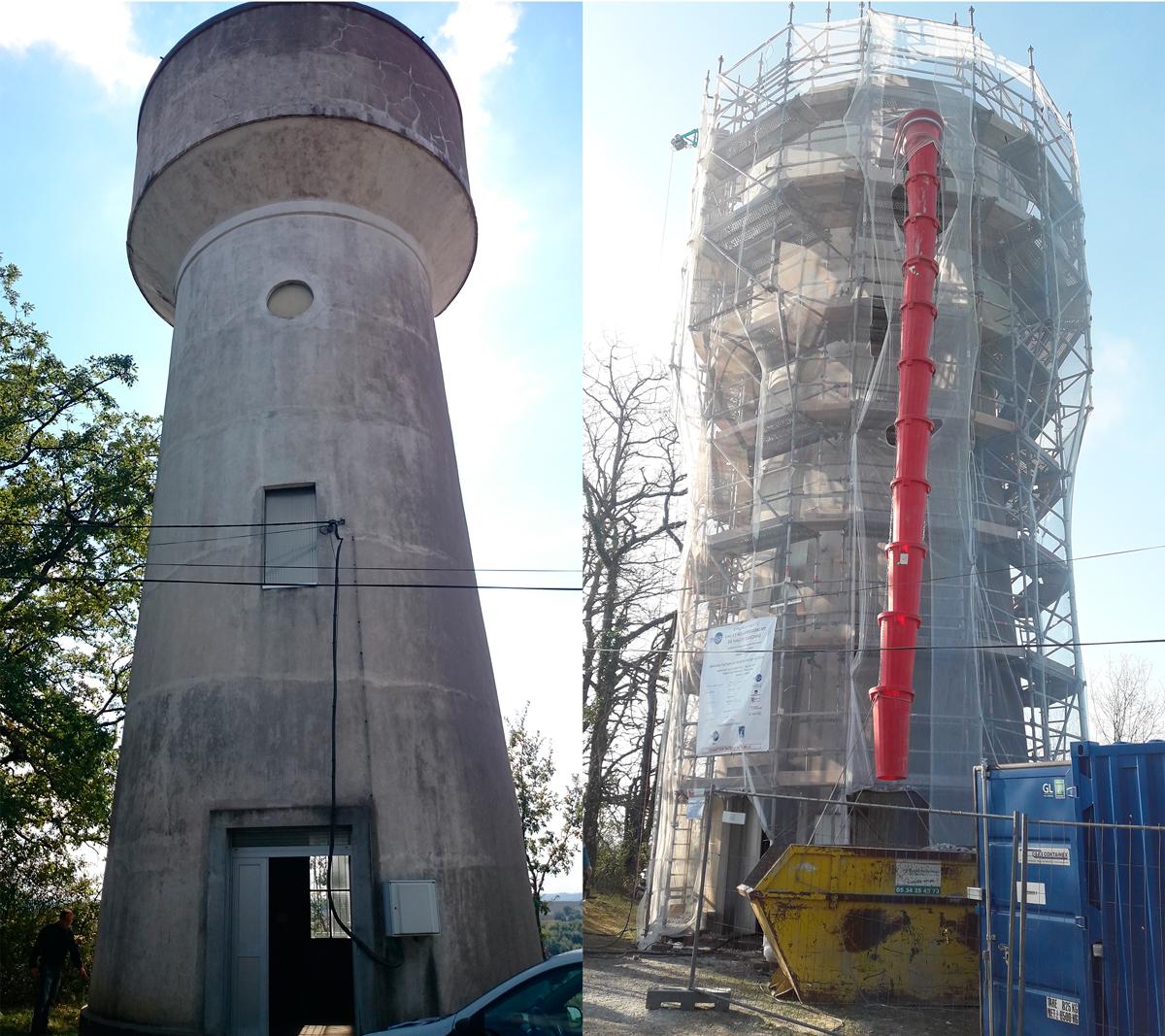 Photo présentant la réhabilitation du château d'eau